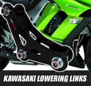 Lowering links and lowering kits for Kawasaki motorcycles