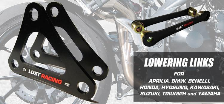 Motorcycle lowering links and lowering kits for Honda, Kawasaki, Suzuki, Triumph, Yamaha and more!